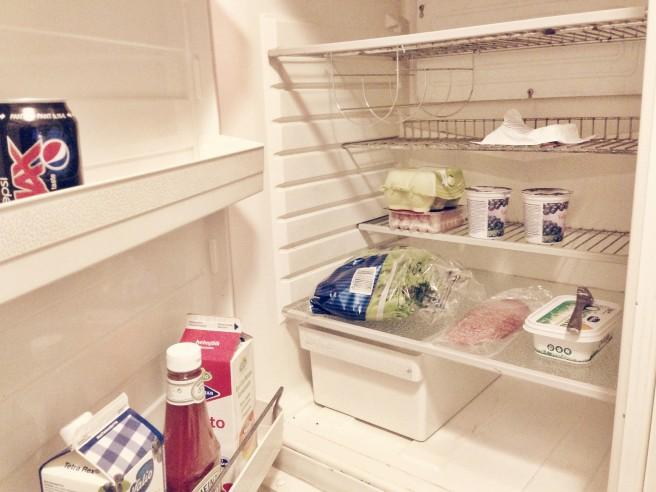 Kuvassa eläkeläisen (lue: minun) jääkaappini muuton jälkeen. (Kuva: WNSAC)