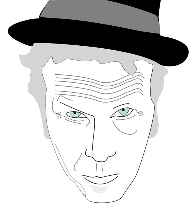 Noihin aikoihin kokeilin myös ensimmäisiä kertoja tietokoneella piirtämistä x-D Kuvassa Tom Waits.